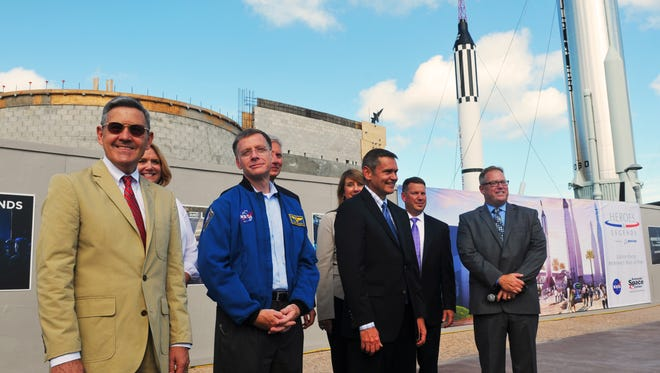 An artist rendition of the Heroes & Legends experience. A topping off ceremony was held at the Kennedy Space Center Visitor Complex, where it was announced that Boeing is the first ever title sponsor of the upcoming Heroes & Legends, featuring the U.S. Astronaut Hall of Fame.