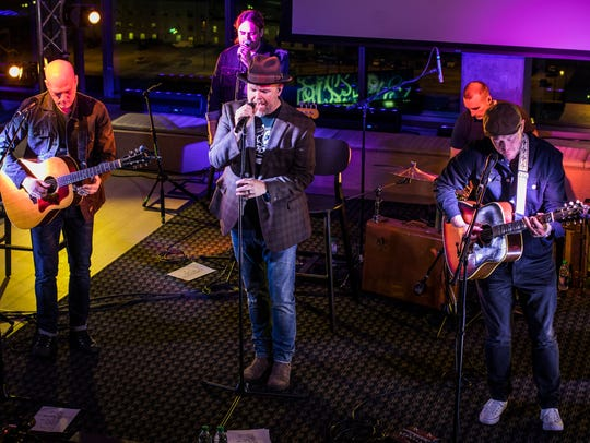 MercyMe performs during a listening party for their