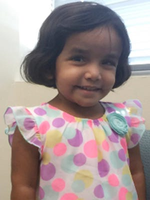 This undated photo provided by the Richardson Police Department in Texas shows 3-year-old Sherin Mathews. Police in a Dallas suburb say they found the body of a small child on Oct. 22, 2017, not far from the home of Sherin Mathews, who has been missing since early October 2017.