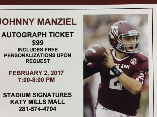 A look at an autograph ticket for Johnny Manziel's