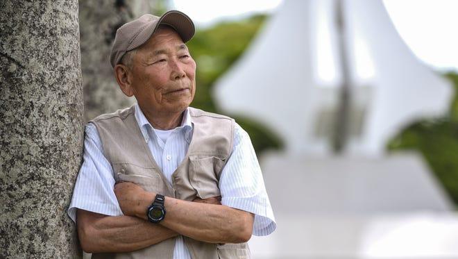 Japanese World War II survivor Kazuo Hoshi, 87, is photographed at the Plaza de Espana in Hagåtña on Tuesday, July 11, 2017.