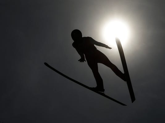 FILE - In this Feb. 7, 2018, file photo, Austria's Stefan Kraft practices for the men's ski jumping competition in the 2018 Winter Olympics at the Alpensia Ski Jumping Center in Pyeongchang, South Korea. Ski jumping is famed for its spectacular speed, exhilarating aerodynamics and cringe-worthy crashes. (AP Photo/Charlie Riedel, File)