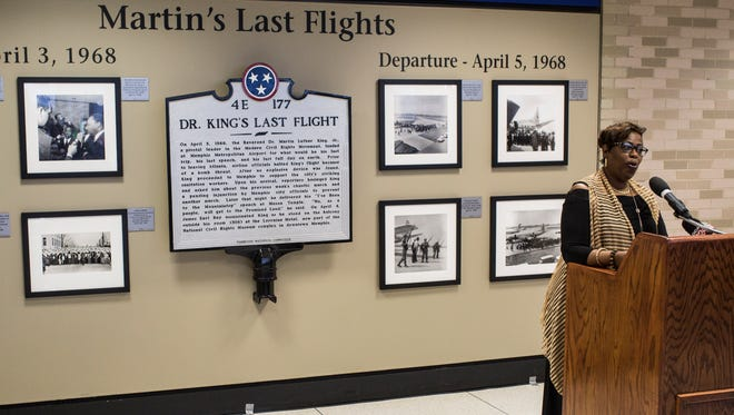 April 12, 2018 - Rosalind Withers, Ernest Withers' daughter and the trustee of his estate, speaks during the opening of the photo exhibit, Martin's Last Flights, at the Memphis International Airport. Officials and the Withers Collection Museum and Gallery unveiled the new photo exhibit, Martin's Last Flights, that features archive photos from Withers when Dr. Martin Luther King Jr. arrived and departed Memphis.