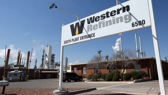 Western Refining's profit declined in the second quarter. This is the company's El Paso refinery entrance at 6500 Trowbridge.