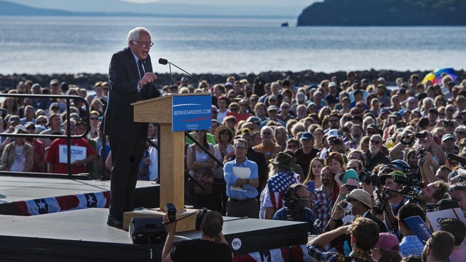 Vermont Sen. Bernie Sanders announces he is a candidate for the Democratic nomination for president at Waterfront Park in Burlington on Tuesday, May 26,