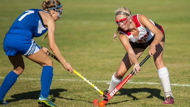 CVU's Bella Rieley, right, tries to keep the ball away from Colchester's Alicia Tebeau-Sherry in Hinesburg on Monday, September 13, 2016.