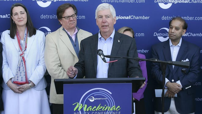 Gov. Rick Snyder speaks at the Mackinac Policy Conference on Thursday, June 1, 2017.