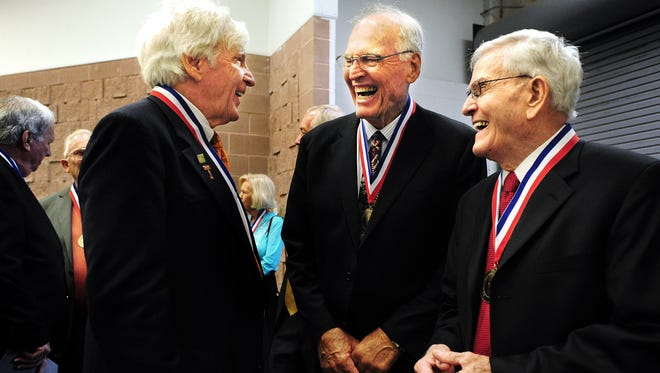 Big Country Athletic Hall of Fame inductees from left, Dean Smith, Andy Malone and Ray Overton wait to be introduced at the start of the Big Country Athletic Hall of Fame induction ceremony on Monday, May 7, 2012 at the Civic Center.