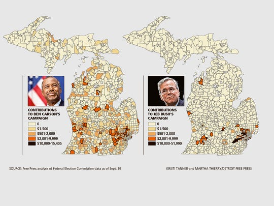 The Michigan ZIP codes where GOP presidential candidates Ben Carson and Jeb Bush raised money.