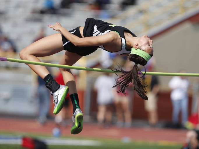 Seton High School's Loretta Blaut clears her winning high jump during the Division I regional track meet held at Welcome Stadium in Dayton.