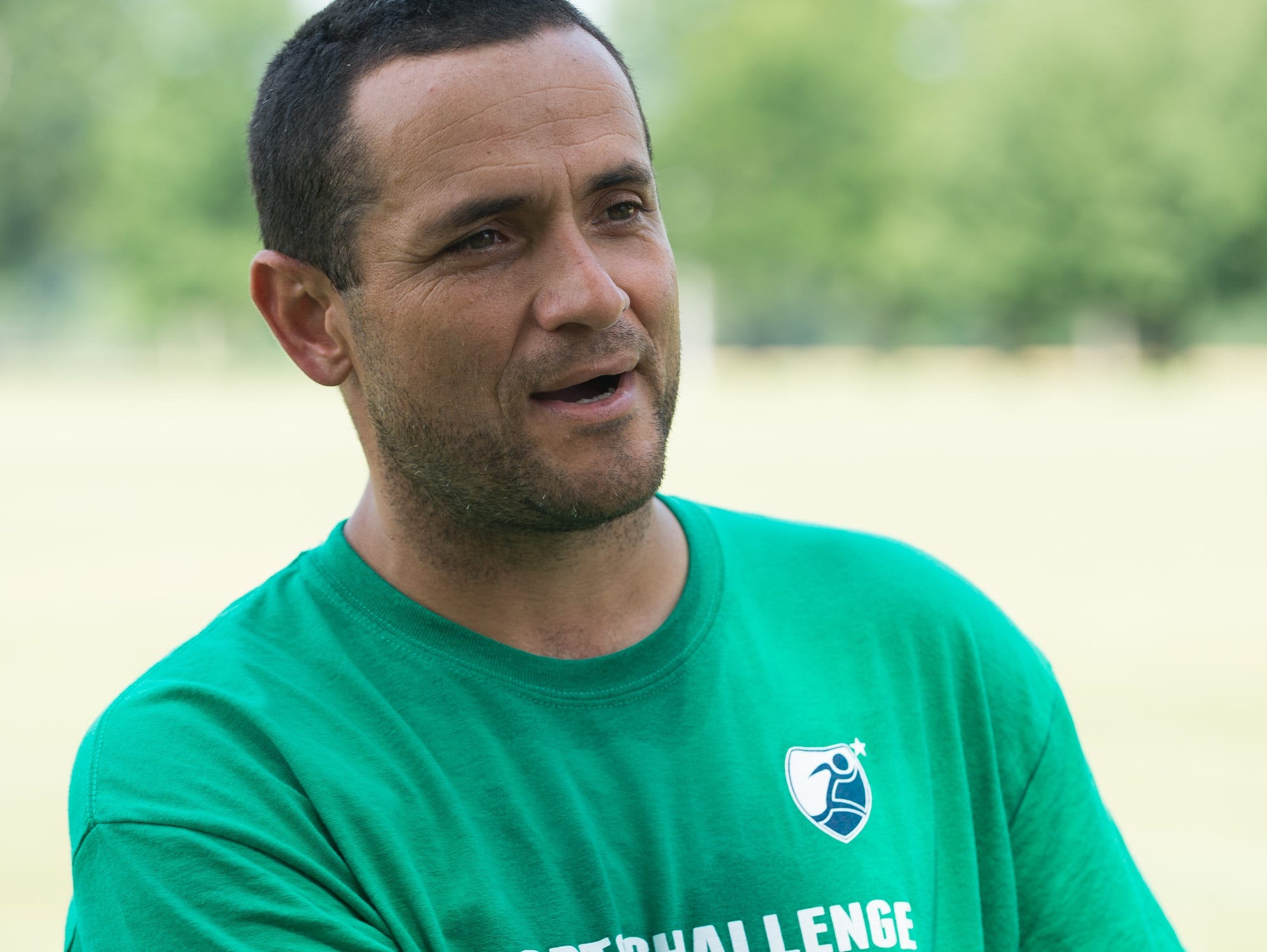 Soccer coach Jesse Gonzalez of San Diego, CA., talks about coaching at the Strive Sports Challenge at St. Andrew's School in Middletown, Del,.