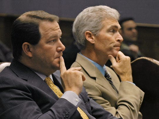 JImmy Faircloth (right) is shown in this 2008 photo when he was executive counsel to Gov. Bobby Jindal and was helping him push an ethics reform package through a special session of the Legislature. With him is Sen. Rob Marionneaux (left).