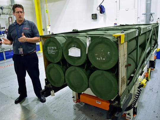Letterkenny employee Sam Clippinger talks about rocket pods during a visit by community leaders. Letterkenny Munitions Center (LEMC) held a tour for invited guests on Wednesday, September 28, 2016.