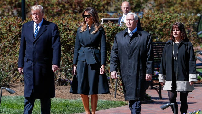 First lady Melania Trump accompanied President Donald Trump, Vice President Mike Pence and second lady Karen Pence to the funeral service for the late evangelist Billy Graham at the Billy Graham Library in Charlotte, N.C. March 2, 2018.