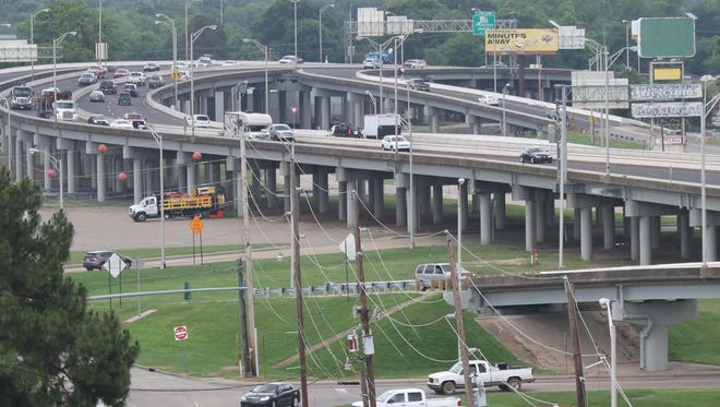 Traffic moves along the elevated portion of Interstate 20 in Monroe.