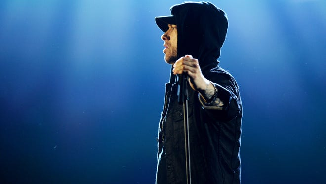 Eminem performs during the MTV EMAs 2017 in London this past Sunday. The Detroit rapper's new album, reportedly titled 'Revival,' is expected this month.