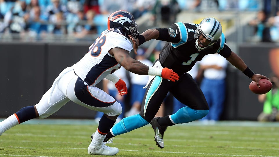 Broncos OLB Von Miller and Panthers QB Cam Newton (1)