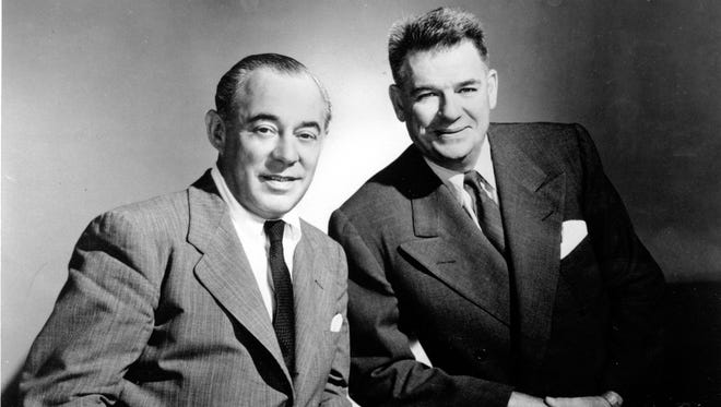 """Composer Richard Rodgers, left, and lyricist Oscar Hammerstein II, pose for a photo on Dec. 2, 1956. A biography of Rodgers and Hammerstein, written with the cooperation of the late Broadway team's publishing arm, will be come out in 2018. Henry Holt and Company announced Monday, June 29, 2015, that Todd S. Purdum's book, """"Rogers and Hammerstein,"""" also will draw upon materials recently made available at the Library of Congress."""