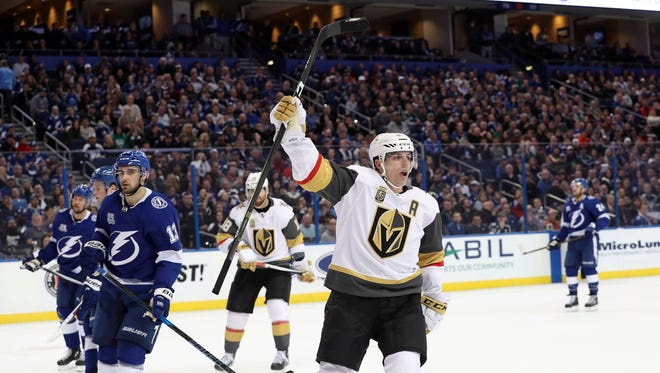 Vegas Golden Knights forward David Perron (57) celebrates after scoring a goal against the Tampa Bay Lightning during the second period at Amalie Arena.