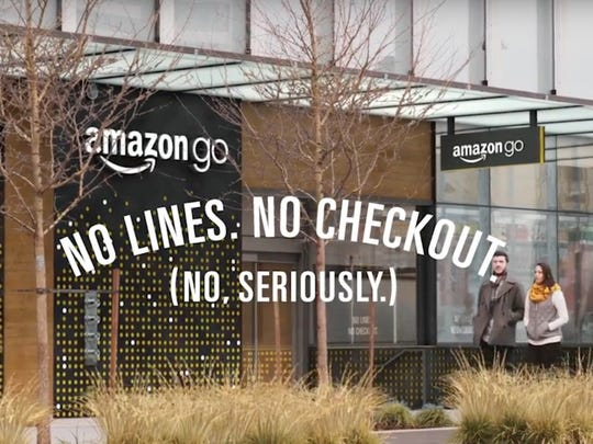 "Amazon announced its Amazon Go ""just walk out"" store on Dec. 5, 2016. These stores allow customers to enter, grab items and then leave without ever having to go through a checkout lane. An Amazon Go app and sensors track everything the customer has taken, charging their Amazon account as they leave."