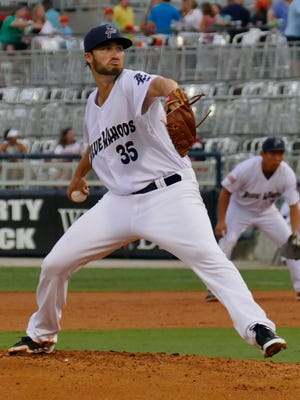 Tim Adleman was the opening pitcher for the Pensacola Blue Wahoos against the Biloxi Shuckers Friday night for their game in Pensacola.