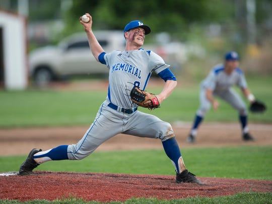 Memorial's Caleb Meeks (8) pitches against Harrison at Harrison's baseball field on Thursday, May 10, 2018. The game was postponed due to weather in the second inning.