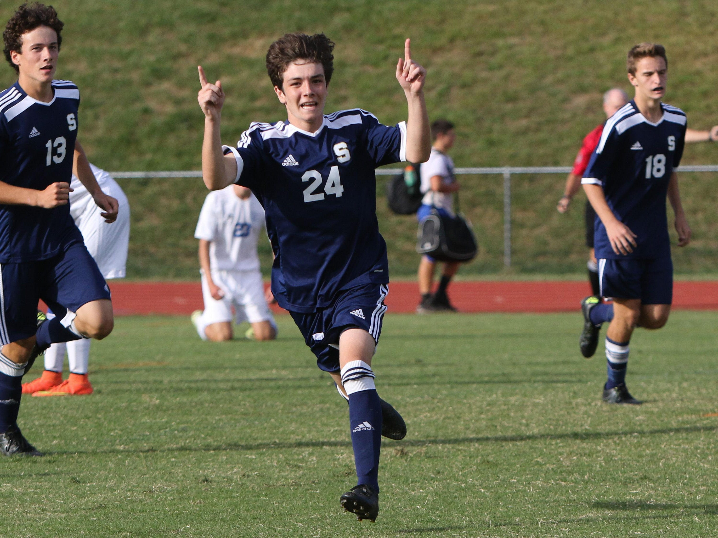 Salesianum's Jack Leonard celebrates after his go-ahead goal in the closing minutes of his team's match with Charter of Wilmington. The Sallies won 2-1 Thursday at Charter.