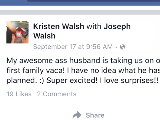 An update Kristen Bury posted to Facebook on Sept.