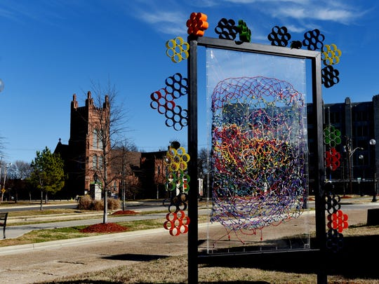 FILE: Installation for the Unscene! Beaded Blanket Trail in Shreveport Common.