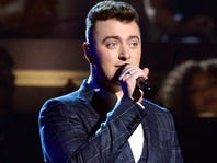 """LOS ANGELES, CA - FEBRUARY 08:  Singer Sam Smith performs """"Stay With Me"""" onstage during The 57th Annual GRAMMY Awards at the at the STAPLES Center on February 8, 2015 in Los Angeles, California.  (Photo by Kevork Djansezian/Getty Images) ORG XMIT: 531541747 ORIG FILE ID: 463037600"""