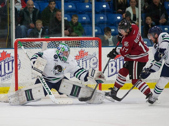 Guelph's Tyler Bertuzzi (No. 17) tests Plymouth goalie