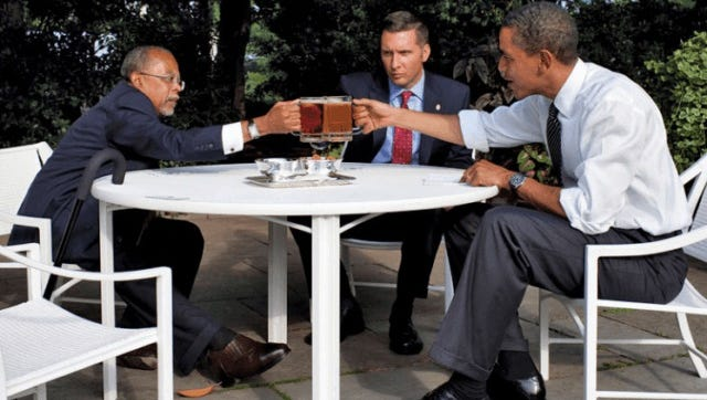 In 2009, Harvard Professor Henry Louis Gates was arrested by Boston police for being mistaken as an intruder _ breaking into his own house. President Barack Obama invited the professor and the arresting officer to join him and Vice President Joe Biden at the White House for an afternoon chat over beers.