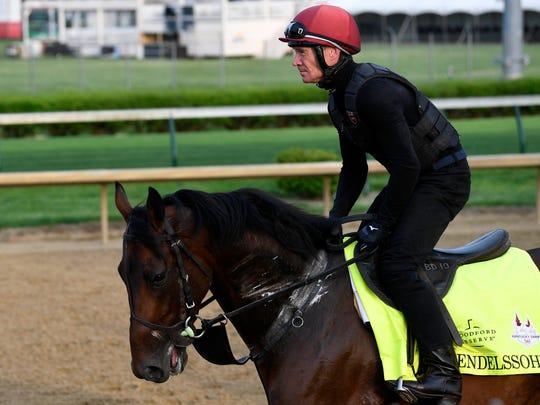 An exercise rider works Kentucky Derby entry Mendelssohn