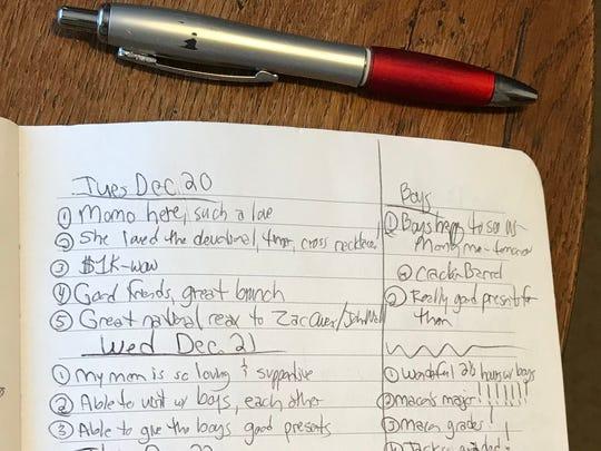 A page of Gregg Doyel's gratitude book.