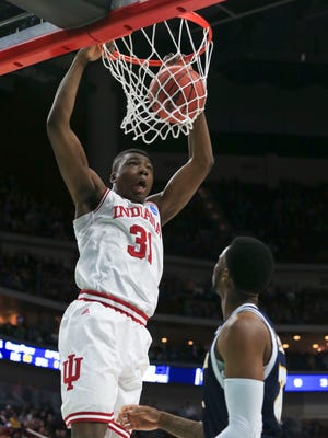 Indiana's Thomas Bryant slams down two in the first half against Chattanooga.