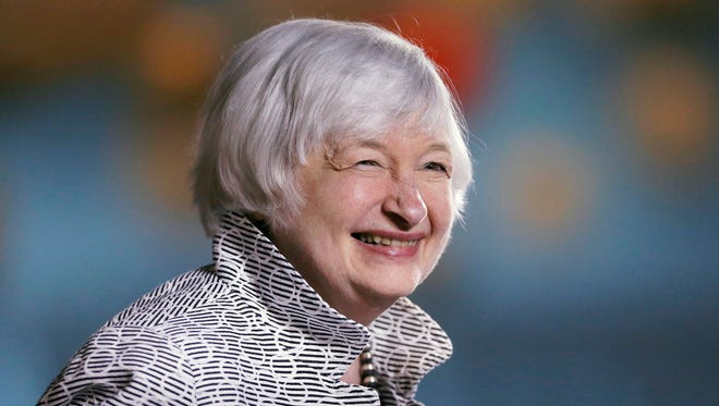 Federal Reserve Chair Janet Yellen smiles before speaking at a conference at Brown University in Providence, R.I., Friday, May 5, 2017.