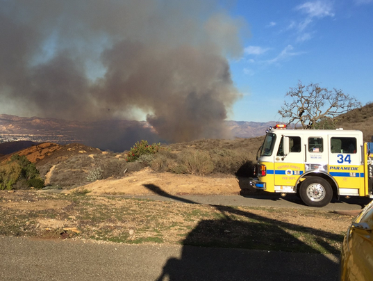 ... efforts on Tuesday afternoon when a blaze broke out in the Wood Ranch  area of Simi Valley. (Photo: CONTRIBUTED PHOTO/VENTURA COUNTY SHERIFF'S AIR  UNIT) - Brush Fire Stopped In Wood Ranch Area; Crews To Keep Watch