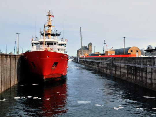 The Canadian cutter Samuel Risley ties up in the Poe