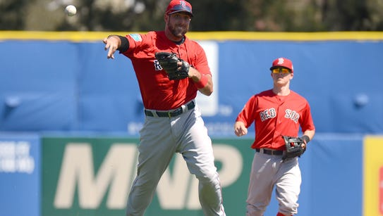 Boston Red Sox infielder Travis Shaw (47) throws to