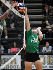 Avery Hankins of Iowa Park works hard at the net during