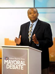 Abilene mayoral candidate Anthony Williams responds to a question during the mayoral debate on Thursday, April 20, 2017, at the KTXS studio.