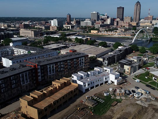 A view of downtown Des Moines from the Register drone overlooking the new Bridge District development on Thursday, May 24, 2018, in Des Moines.