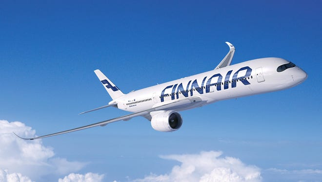 A rendering of an Airbus A350 in the colors and livery of Finnair.