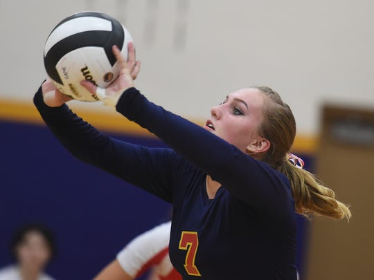 Seton's Kelsey Martin sets the ball against Hagerstown
