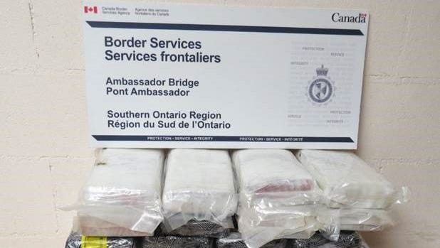 Canadian authorities said they seized more than 65 pounds of cocaine in 25 bricks Sept. 22 at the Ambassador Bridge.