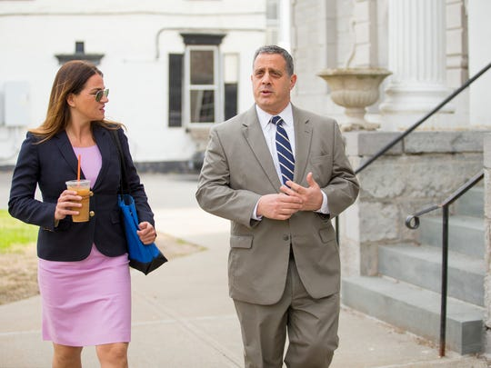 Defense attorneys Aida Leisenring and Bruce Barket walk into the Schoharie County courthouse Monday morning as jury deliberations continue in the Cal Harris trial.
