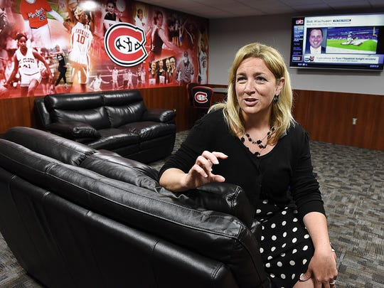 In this 2015 file photo St. Cloud State University Athletic Director Heather Weems sits in the Gladys Ziemer Women's Athletics Lounge in Halenbeck Hall.