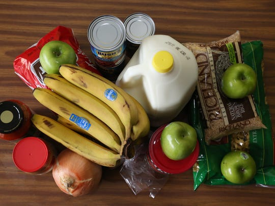 This is the food Dirr purchased to feed herself for a week at a price of about $4 per day.