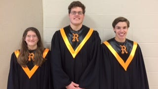 Three Republic High School students were recently selected for Missouri All-State Choir. From left: Miriam Kemper, Shayne Piles and Adam Jenkins.