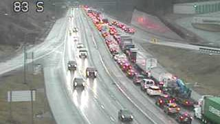 A crash near Exit 10 on I-83 southbound is slowing traffic back past Exit 14 on Tuesday, Jan. 23. (PennDOT Traffic Cam)